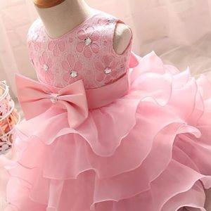 🌸New! Princess Pink Ruffle Bow Tutu Party Dress🌸